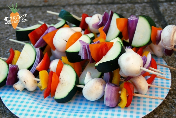 Rainbow of veg skewered and ready for the BBQ
