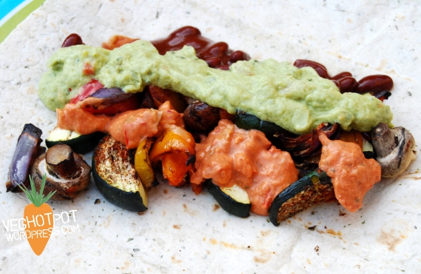 Layer up the veg with chilli beans, guacamole and salsa