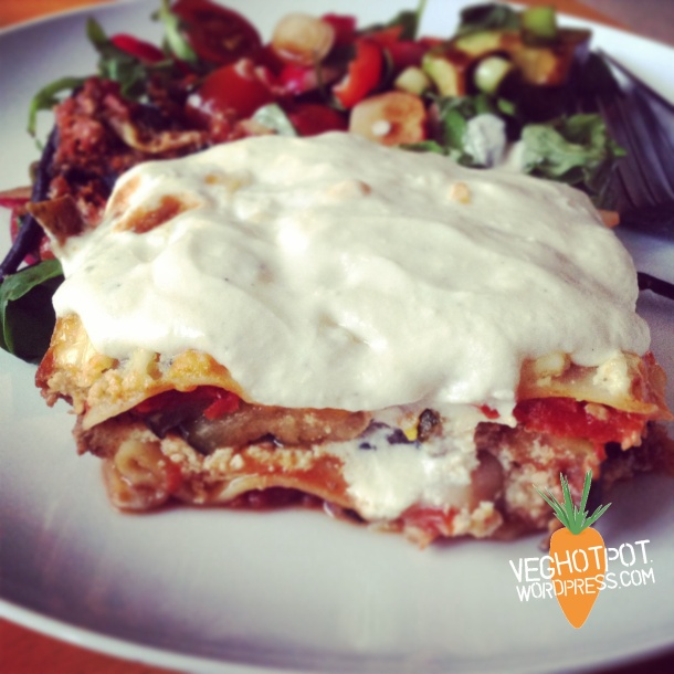 Creamy Vegan Lasagna with layers of roasted vegetables