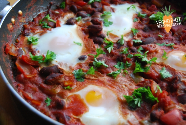 Mexican Style Beany Baked Eggs