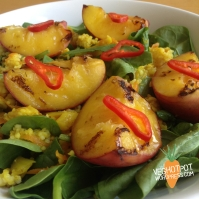 Curried Cous Cous and Grilled Peaches