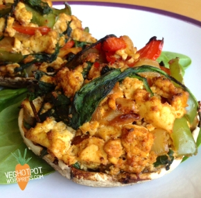 Spicy Tofu Scramble Stuffed Mushrooms