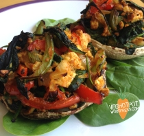 Spiced Tofu Scramble Stuffed Mushrooms