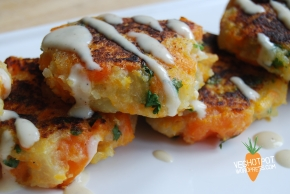 Carrot and Coriander Fritters With TahiniDressing