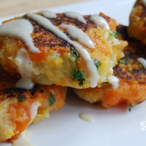 Carrot and Coriander Fritters With Tahini Dressing