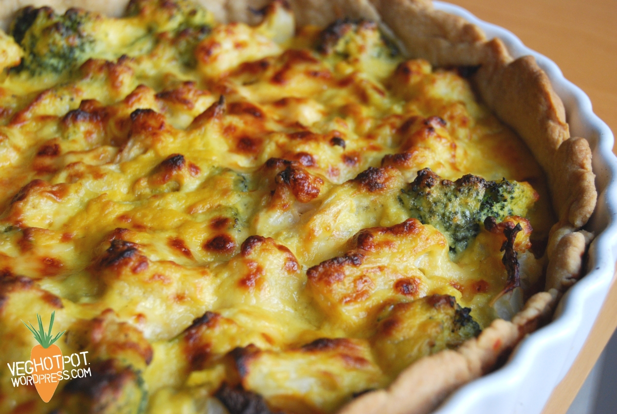 Cauliflower And Broccoli Cheese Tart Veghotpot