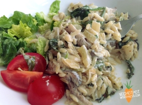 Creamy Mushroom and Spinach 'Orzotto'
